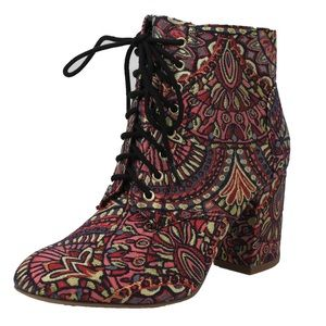 Shoes - Multicolor Lace up high heel ankle bootie
